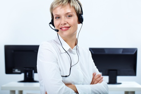 telephone headset: Portrait of customer support representative looking at camera with smile