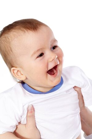 Portrait of happy kid laughing photo