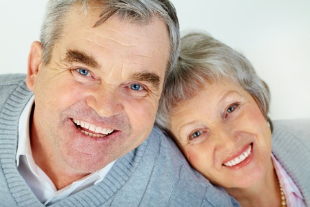 Above view of attractive aged woman and man looking at camera  photo