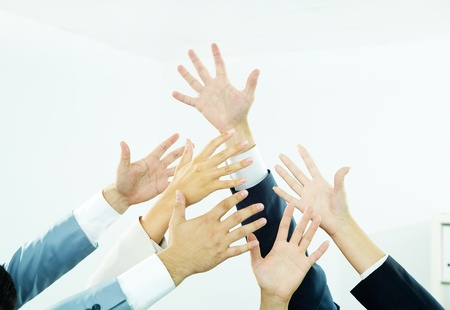 electorate: Image of several human hands showing thumbs up in isolation