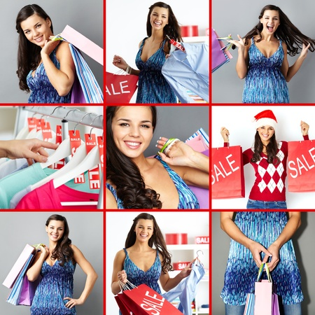 paperbags: Collage of happy brunette with paperbags after shopping Stock Photo