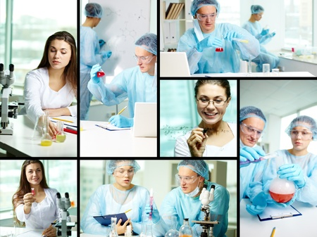 Collage of clinicians studying new substances in chemical laboratory photo