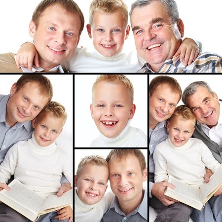 Collage of a father, grandfather and son posing in front of camera photo