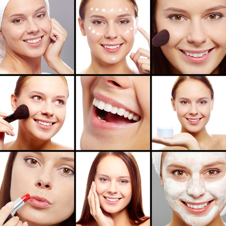 maquillage: Collage of fresh girl taking care of her skin Stock Photo