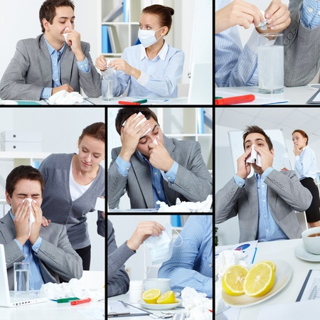 cold remedy: Collage of sick businessman with tissue and his colleague helping him treat illness in office