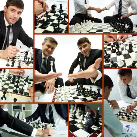jugando ajedrez: Collage de empresarios exitosos jugando piezas de ajedrez y el ajedrez Foto de archivo