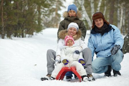 Happy kids and their parents tobogganing in park Stock Photo - 11938236