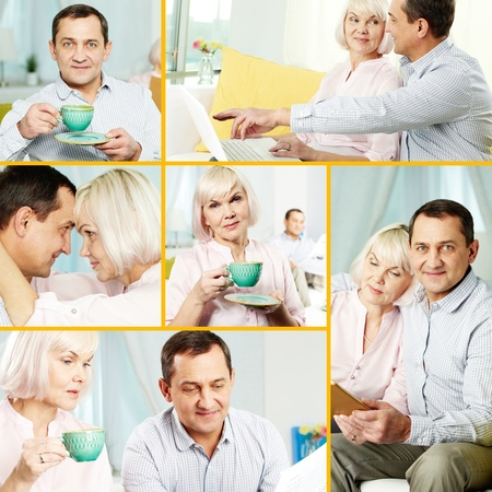 Collage of mature man and his wife spending time at home photo