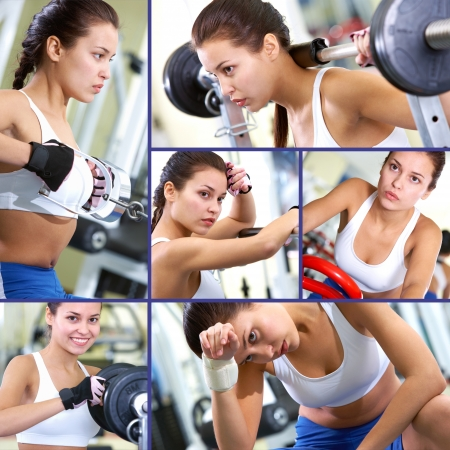 weightlifting equipment: Collage of fit brunette in sport gym