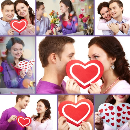 corazon: Collage of a young happy couple of Valentines Stock Photo