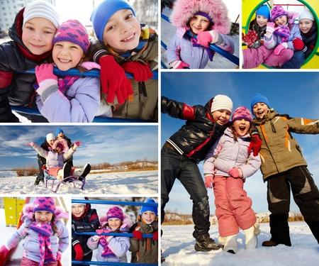 Joyful kids in winterwear having happy time outside photo