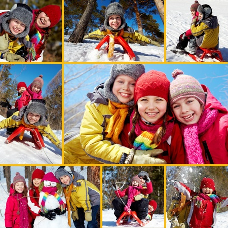 collages: Collage of happy friends on winter vacations Stock Photo