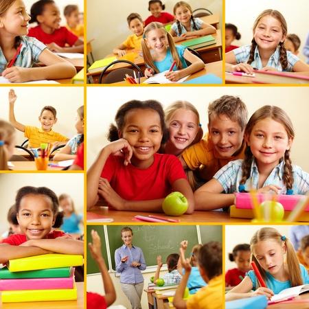 escuela primaria: Collage de los escolares inteligentes en la escuela