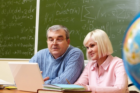 retraining: Portrait of mature man and aged female working with laptop in classroom