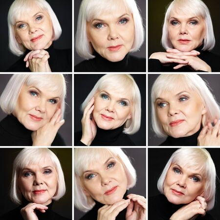 congenial: Collage of mature blond female posing in front of camera
