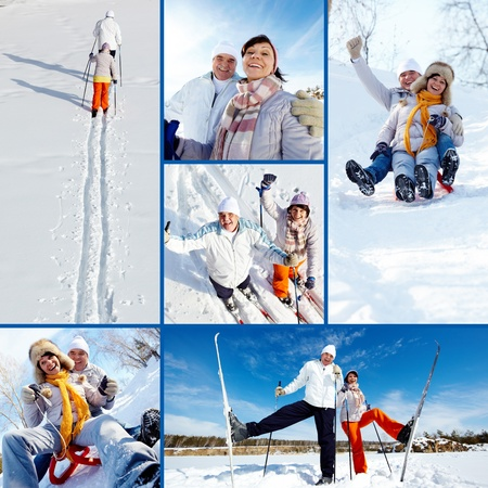 toboggan: Collage of happy mature couple on winter resort Stock Photo