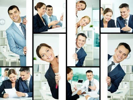 Collage of friendly professionals planning work and peeking out of poster photo