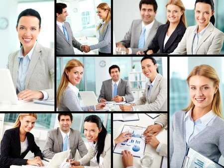 Collage of business partners working in office  photo