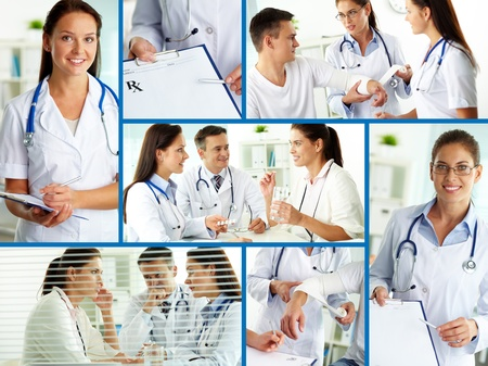 Collage of practitioners and patients in hospital photo