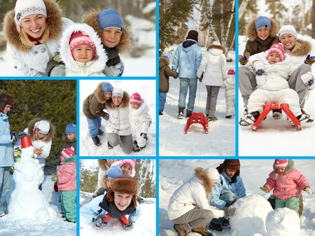 Collage of happy kids and their parents spending time in winter park Stock Photo - 12057267