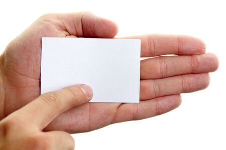 smartness: Image of male hand pointing at blank visiting card on his palm
