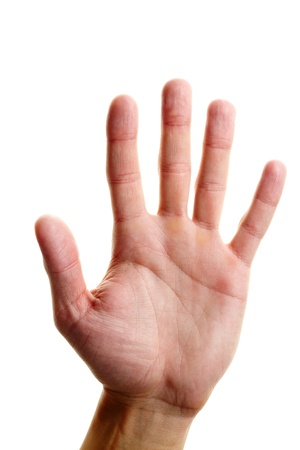 male palm: Image of male hand showing five fingers on a white background