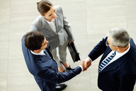 handshaking: Image of business partners handshaking after striking deal with smart woman near by Stock Photo