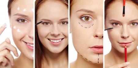 Młoda kobieta z narzędzi kosmetycznych, śmietaną twarzy i linii nakłucia na twarzy patrząc na kamery