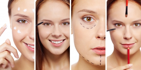 botox: Young female with beauty tools, facial cream and puncture lines on face looking at camera Stock Photo