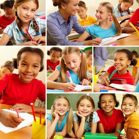 schoolchild: Collage of smart schoolchildren at school