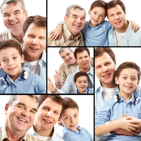 Collage of a father, grandfather and son on white background photo