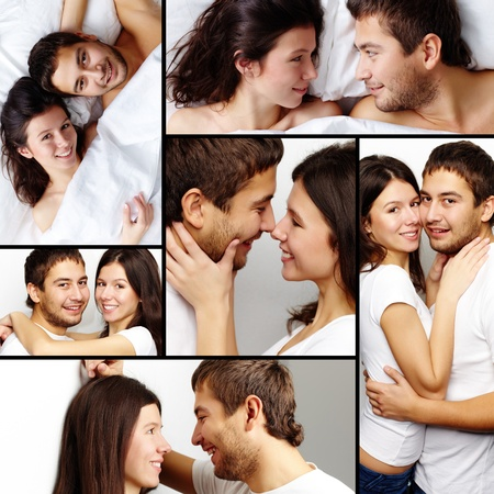 amorous: Collage of happy amorous couple together Stock Photo