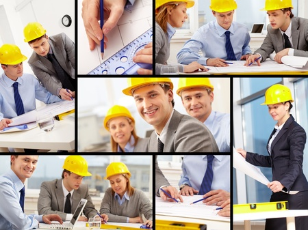 Collage of architects at work photo