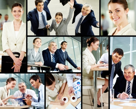 excited business woman: Collage of successful business people Stock Photo