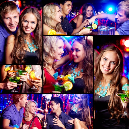 Collage of happy friends having fun at party photo