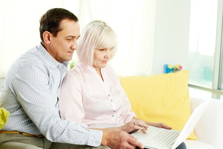 Portrait of mature man and his wife working with laptop at home Stock Photo - 12325060