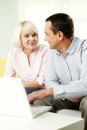 Portrait of mature man and his wife working with laptop at home Stock Photo - 12319687