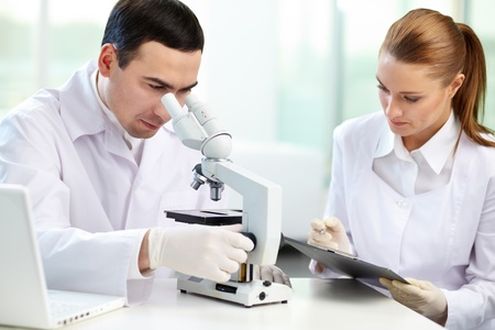 Serious clinicians studying chemical elements in laboratory Stock Photo - 12319541
