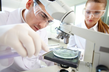 scientist woman: Serious clinician studying chemical element in laboratory with his assistant near by
