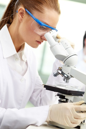 Serious clinician studying chemical element in laboratory photo