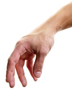 gevangen: Menselijke hand klaar om iets te nemen of om iets te onoff schakelen tegen een witte achtergrond Stockfoto
