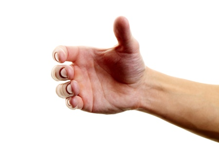 grip: Human hand holding something against white background