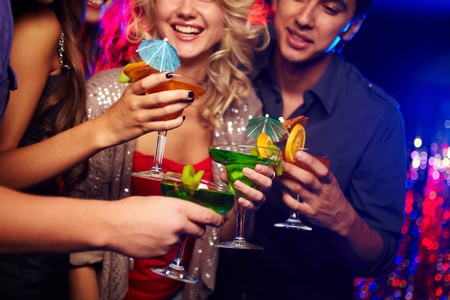 fruit bars: Young people spending time in nightclub celebrating an event