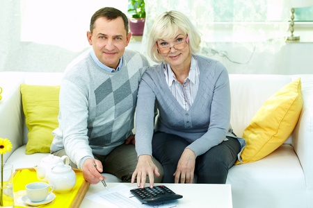 Portrait of mature man and his wife making financial revision at home Stock Photo - 12328616