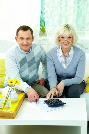 Portrait of mature man and his wife making financial revision at home Stock Photo - 12328607