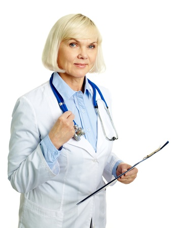 consultant physicians: Portrait of confident female doctor looking at camera in isolation