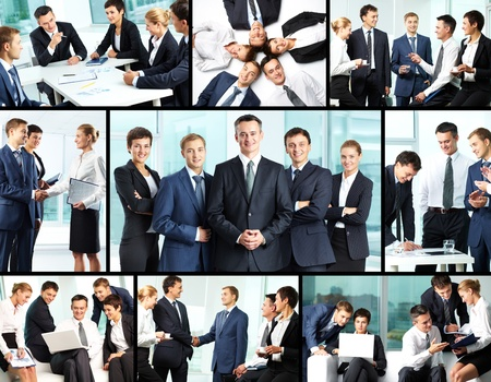 Business collage composed of nine photos of business people photo