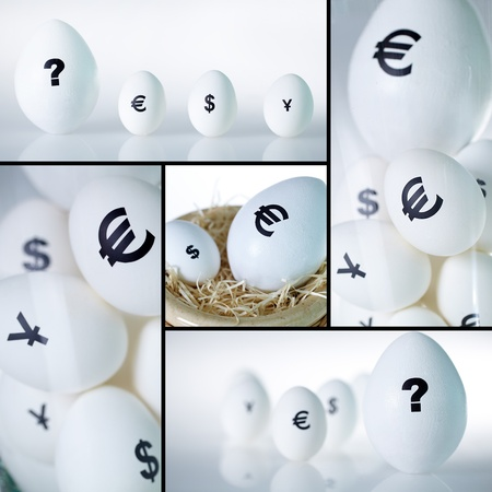 financial questions: Various currency symbols being painted on eggs