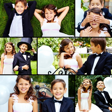 Smartly dressed little bride and groom spending time together outside  photo