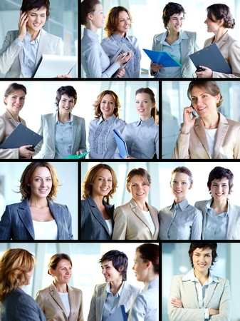 Business collage composed of nine photos of successful and positive business women photo